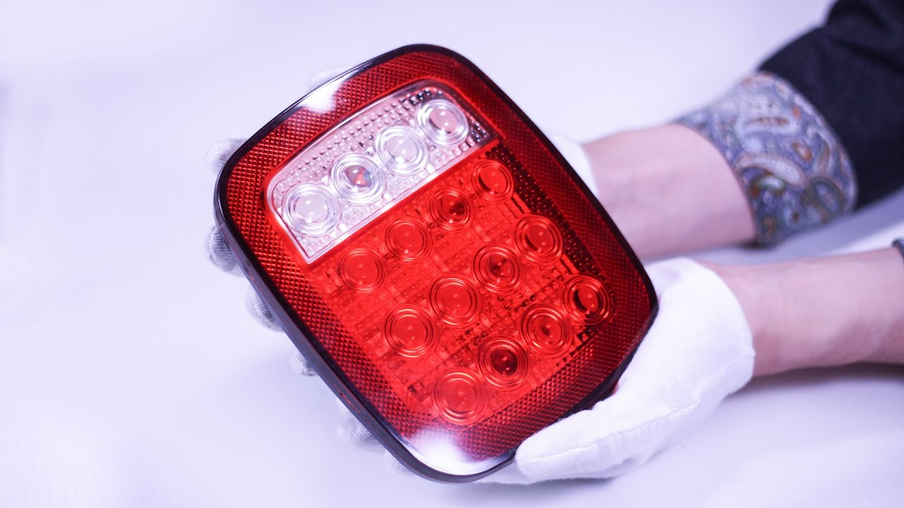 16 Led Stop/tail/turn Lights Red & White For Truck,trailer,jeep,boat - Boat Trailer Lights Wiring Diagram