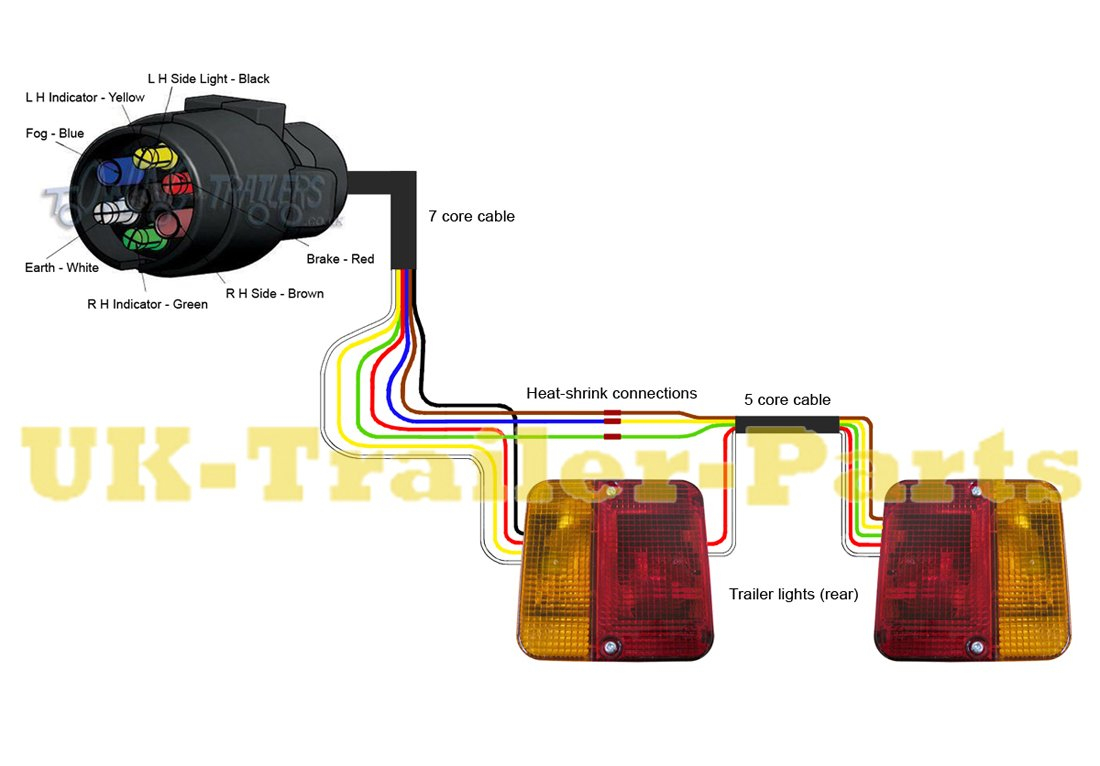 7 Pin 'n' Type Trailer Plug Wiring Diagram | Uk-Trailer-Parts - Trailer Board Lights Wiring Diagram
