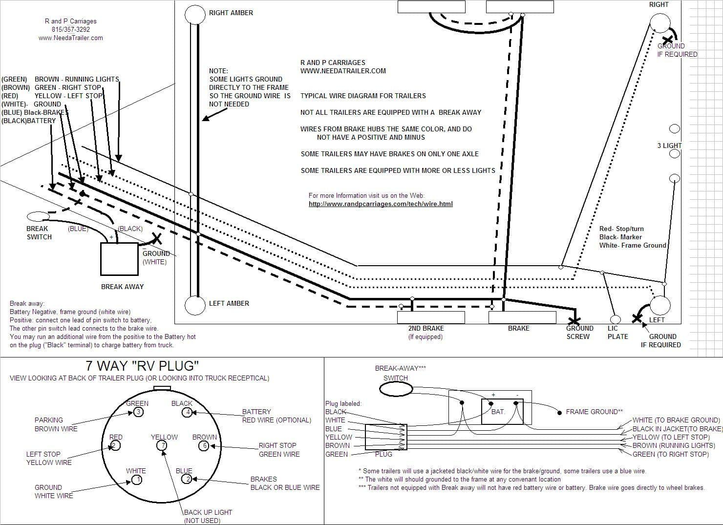 7 Way Plug Information | R And P Carriages | Cargo, Utility, Dump - Trailer 7 Wire Wiring Diagram