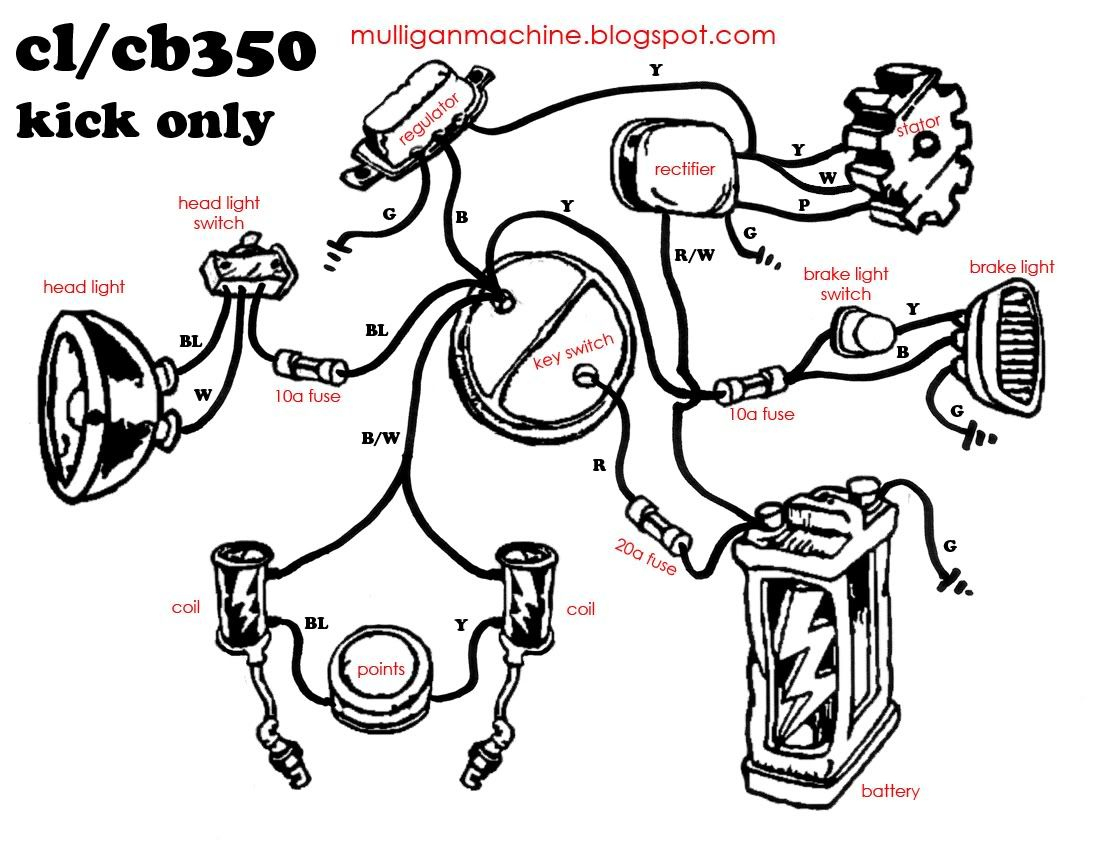 Honda Cb350 Simple Wiring Diagram - Google Search | Useful - Motorcycle Trailer Wiring Diagram