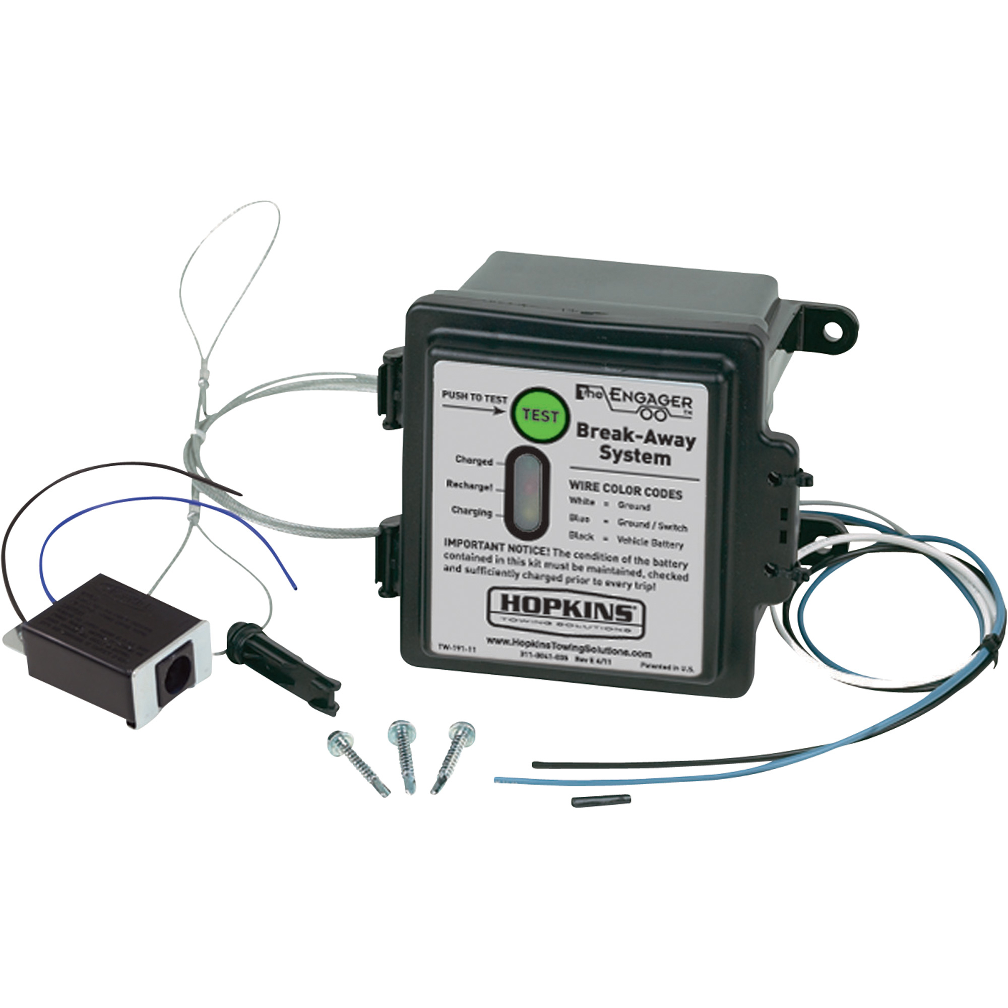 Hopkins Towing Solutions Engager Breakaway Kit With Led Test Light - 3 Wire Trailer Breakaway Switch Wiring Diagram