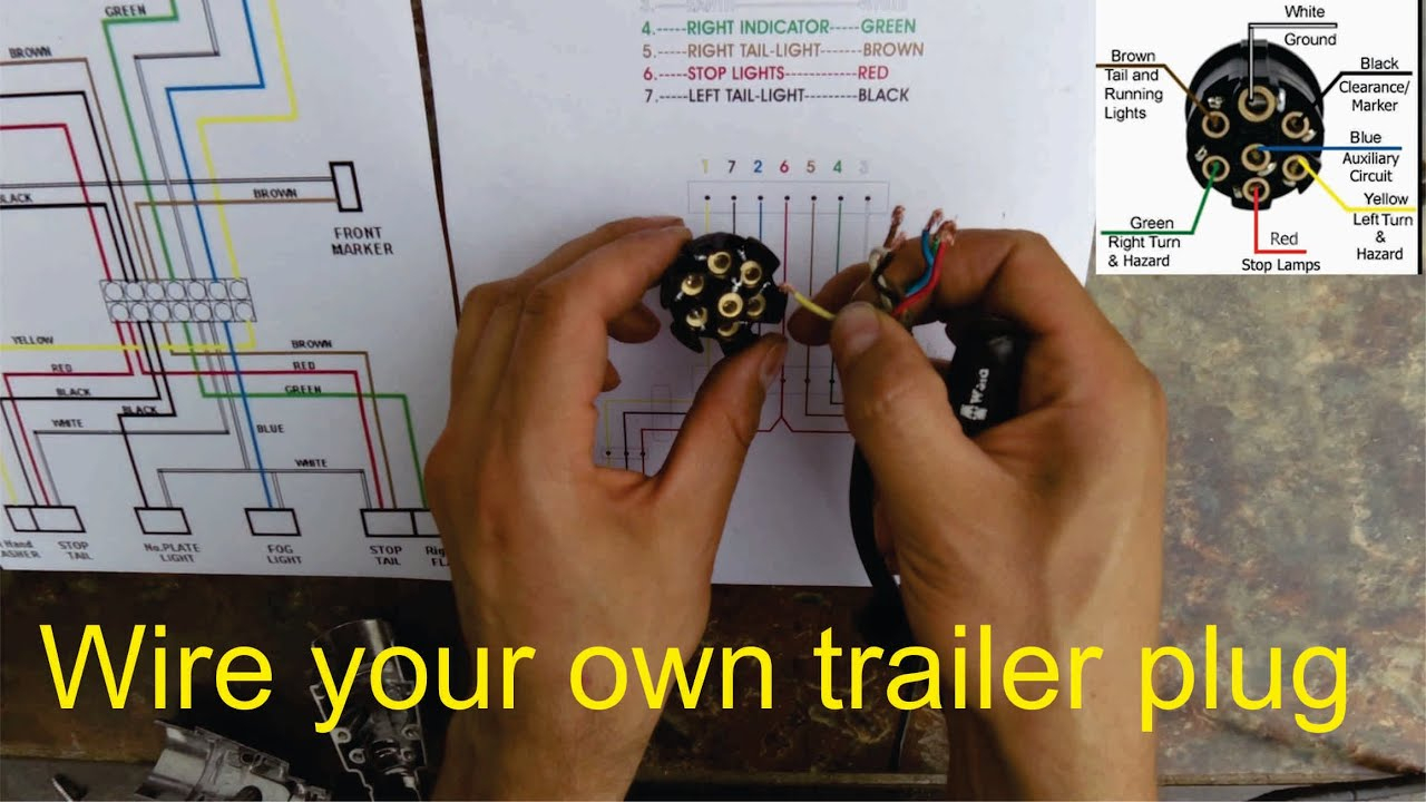 How To Wire A Trailer Plug - 7 Pin (Diagrams Shown) - Youtube - Wiring Diagram Of 7 Pin Trailer Plug