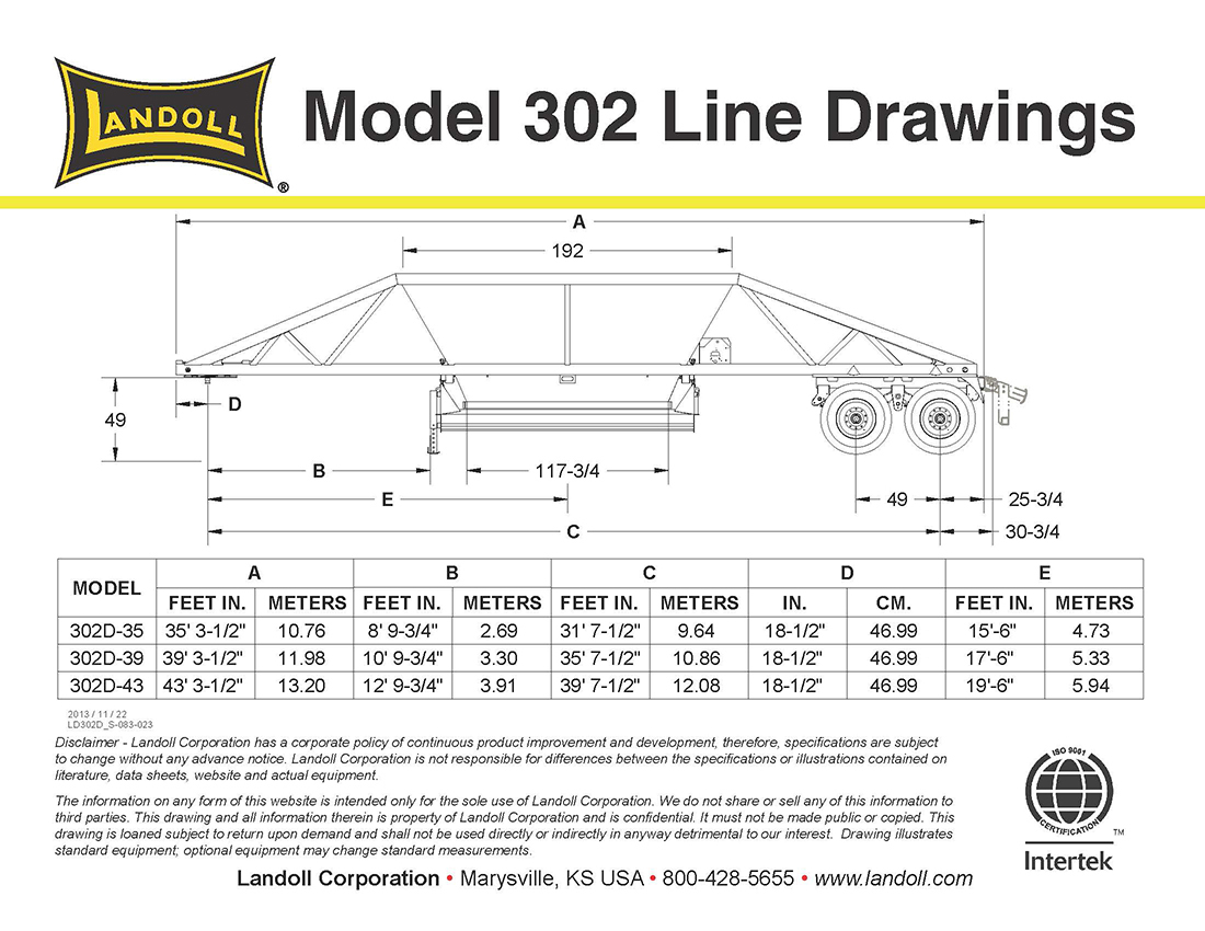 Landoll Bottom Dump Trailer Model 302D-B - Belly Dump Trailer Wiring Diagram
