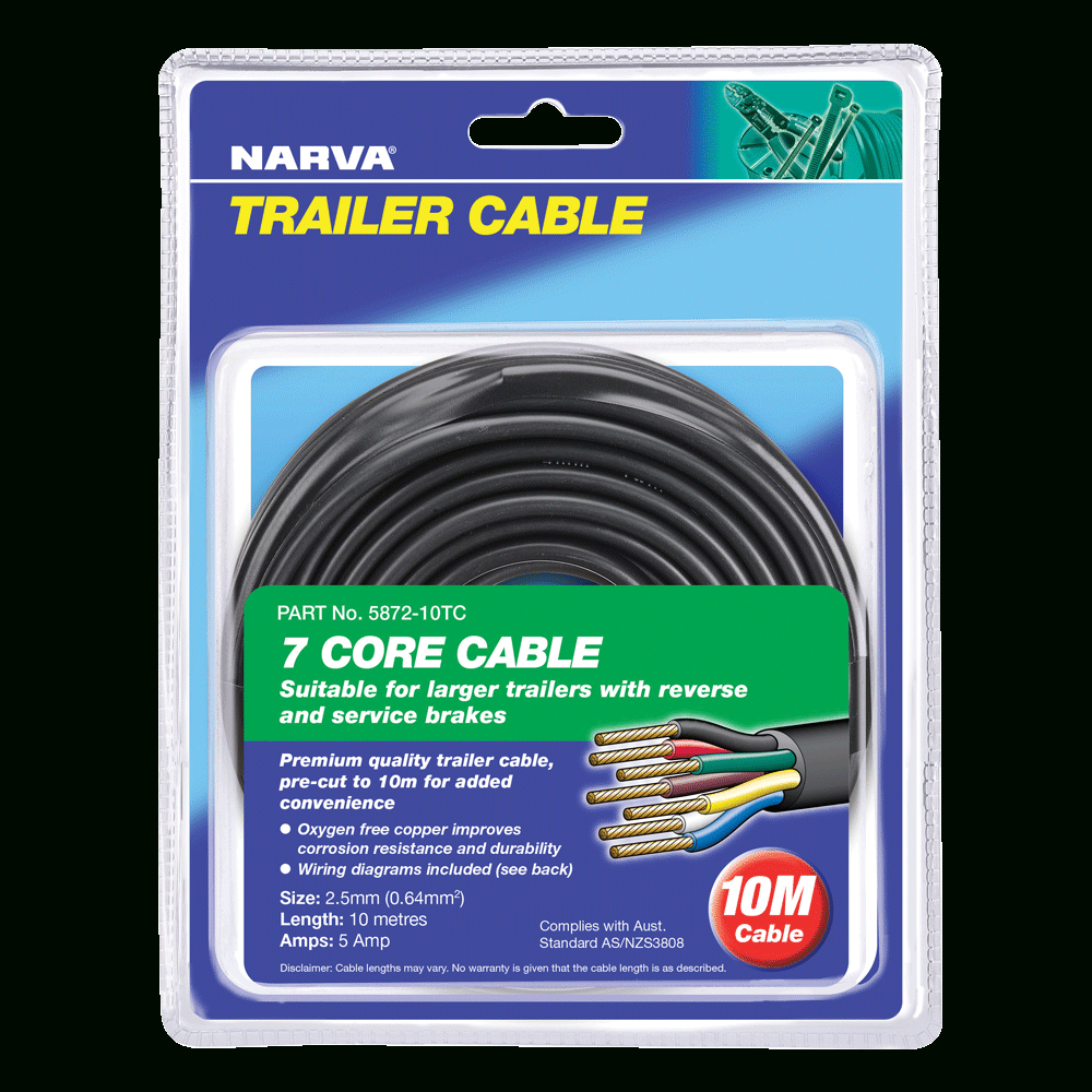 Narva | 5A 2.5Mm 7 Core Trailer Cable (10M)Black; Red; Green; Yellow - 5 Core Trailer Cable Wiring Diagram
