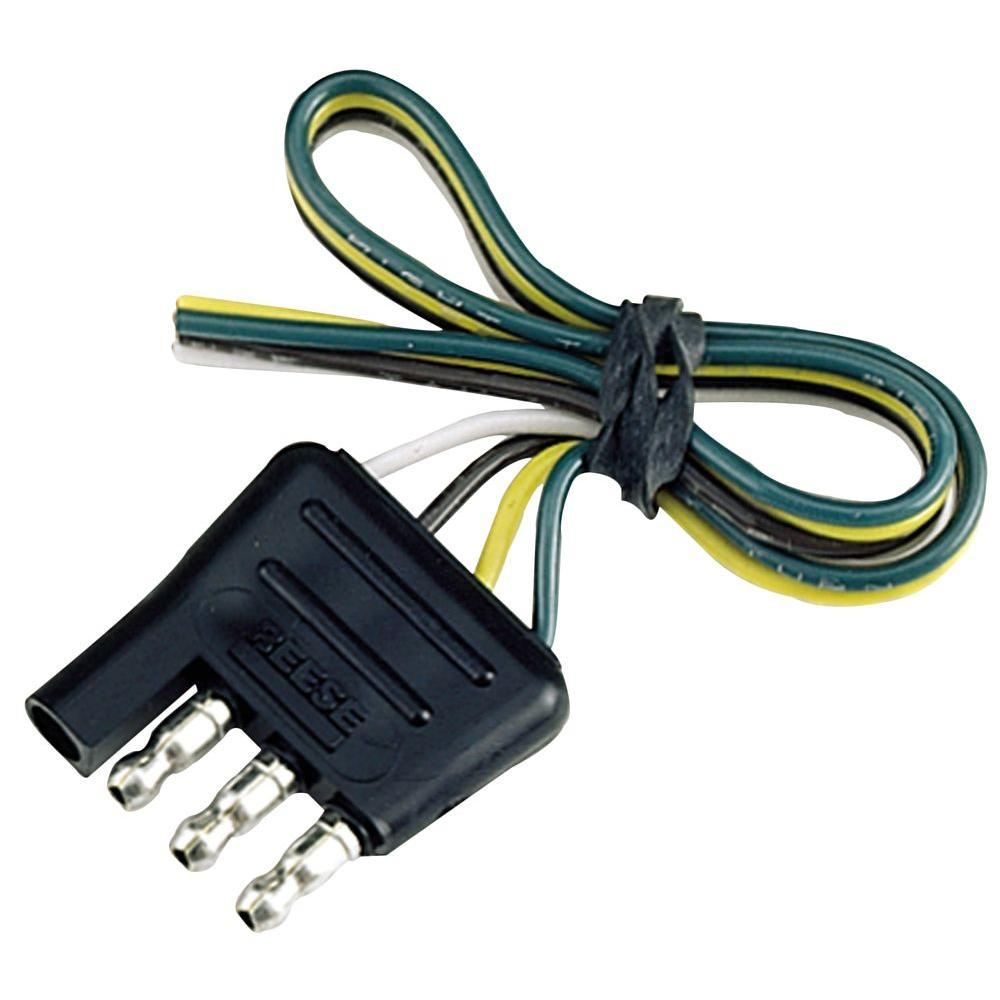 Reese Towpower 4-Way Flat Connector-74124 - The Home Depot - 6 Wire Trailer Plug Wiring Diagram