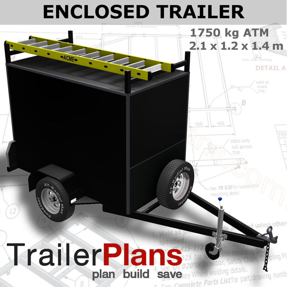 Trailer Plans - 2.1M Enclosed Box Trailer Plans - 2100X1200Mm - Ifor Williams Tipping Trailer Wiring Diagram